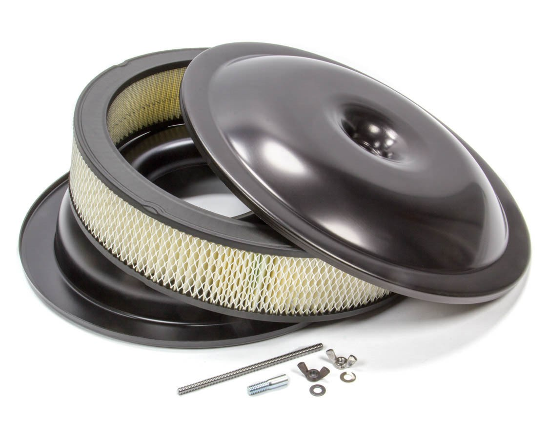Proform 141-690 Air Cleaner Assembly, 14 in Round, 3 in Element, 5-1/8 in Carb Flange, Drop Base, Aluminum, Black, Kit