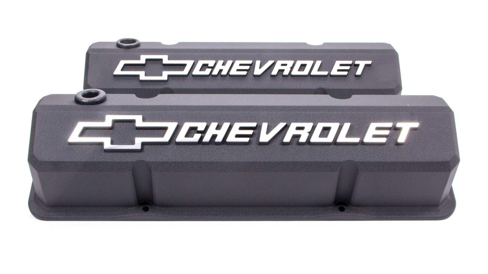 Proform 141-921 Valve Cover, Slant-Edge, Tall, Baffled, Breather Hole, Raised Chevrolet Bowtie Logo, Aluminum, Black Crinkle, Small Block Chevy, Pair