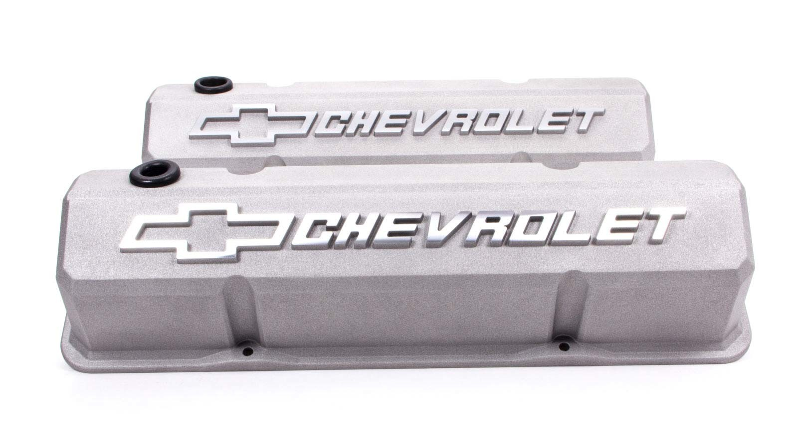 Proform 141-925 Valve Cover, Slant-Edge, Tall, Baffled, Breather Hole, Raised Chevrolet Bowtie Logo, Aluminum, Crinkle Gray, Small Block Chevy, Pair