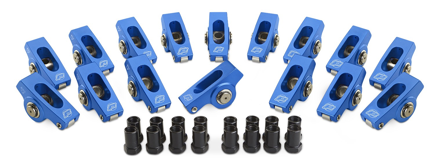 Proform 66920C Rocker Arm, 3/8 in Stud Mount, 1.50 / 1.60 Ratio, Full Roller, Aluminum, Blue Anodized, Small Block Chevy, Set of 16