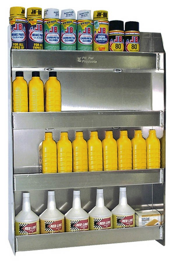 Pit Pal Products 310 Oil Shelf, Wall Mount, 4 Shelf, 24-1/2 x 36 x 5-1/2 in, Aluminum, Natural, Each
