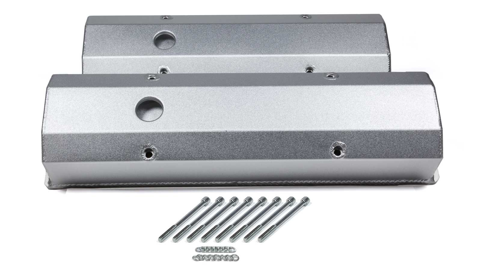 PRW Industries 4035000 Valve Cover, Tall, Breather Hole, Hardware Included, Aluminum, Silver Anodized, Small Block Chevy, Pair