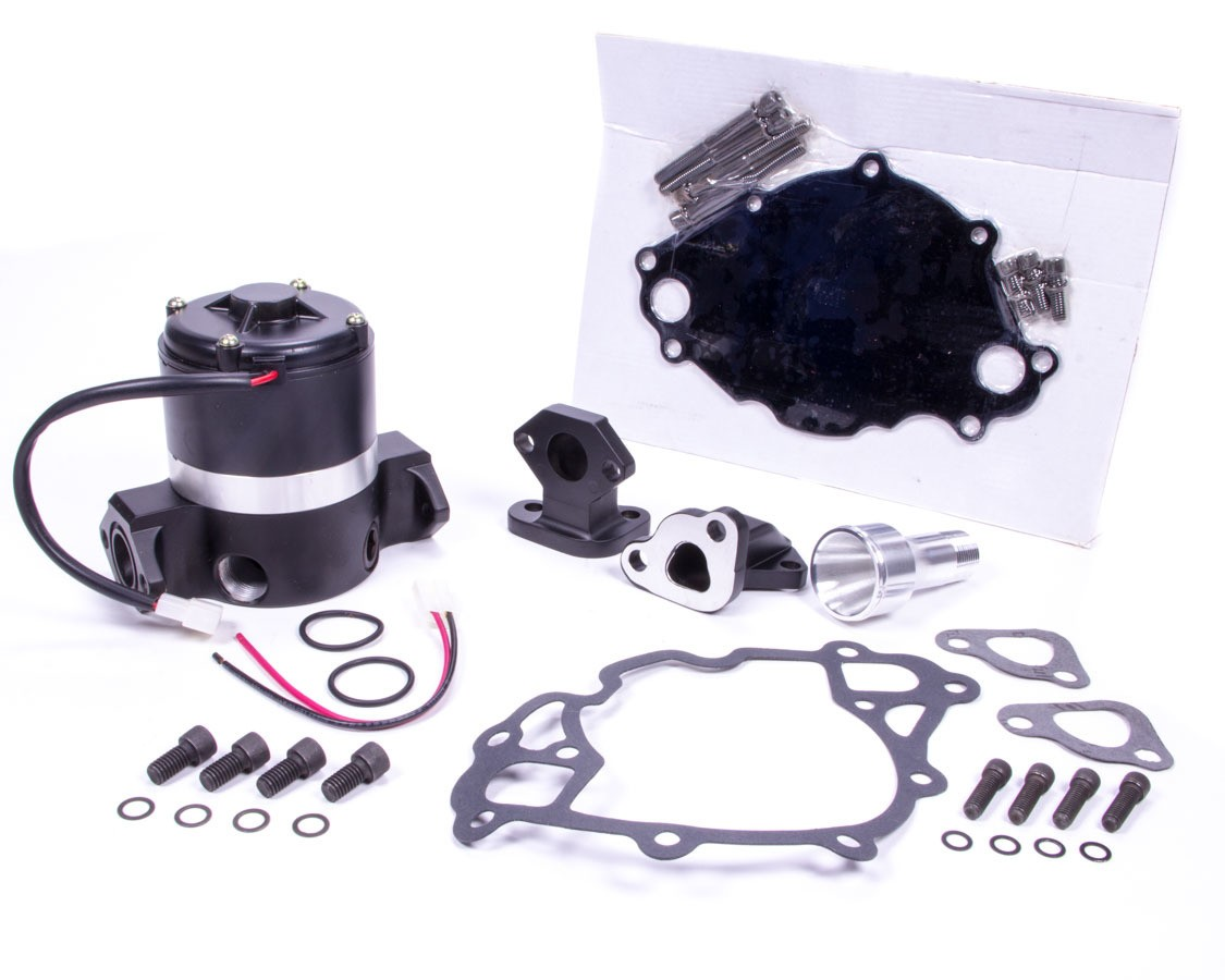 PRW Industries 4430217 Water Pump, Electric, 3/4 in NPT Female Inlet, 6.739 in Height, Gaskets / Hardware / Wiring, Aluminum, Black, Small Block Ford, Kit