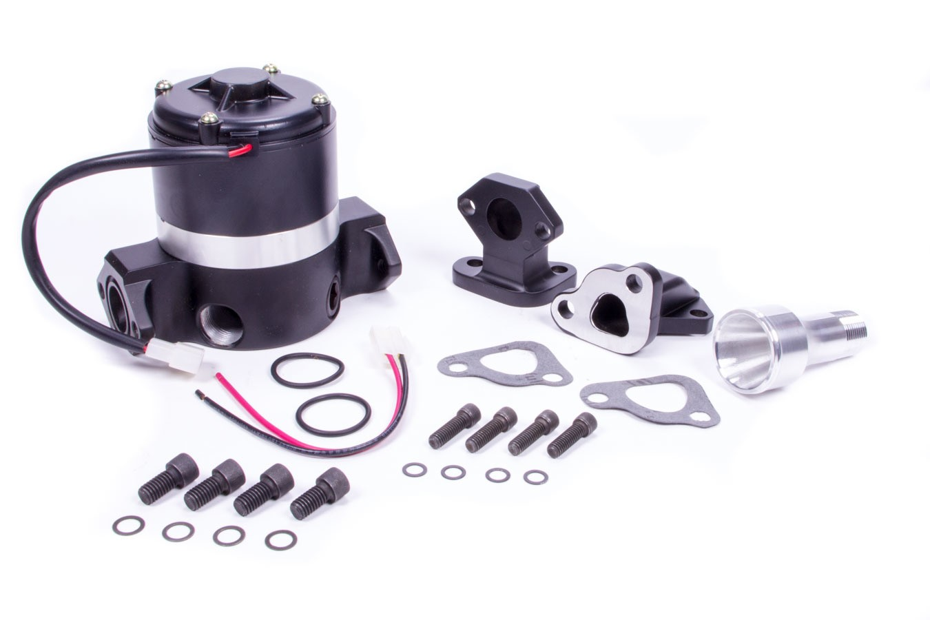 PRW Industries 4435007 Water Pump, Electric, High Flow, 3/4 in NPT inlet, 7.000 in Height, Gaskets Included, Aluminum, Black, Small Block Chevy, Kit