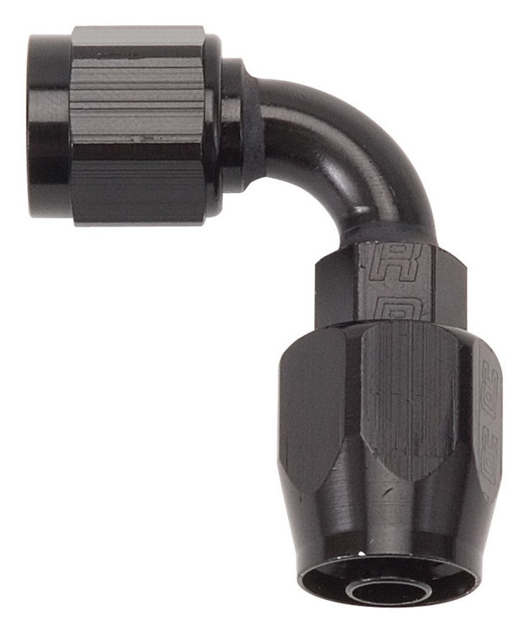 Russell 610185 Fitting, Hose End, Full Flow, 90 Degree, 10 AN Hose to 10 AN Female, Aluminum, Black Anodized, Each