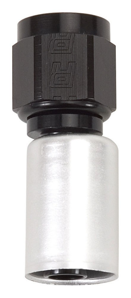 Russell 610463 Fitting, Hose End, Crimp-On, Straight, 6 AN Hose Crimp to 6 AN Female, Aluminum, Black / Silver Anodize, Each