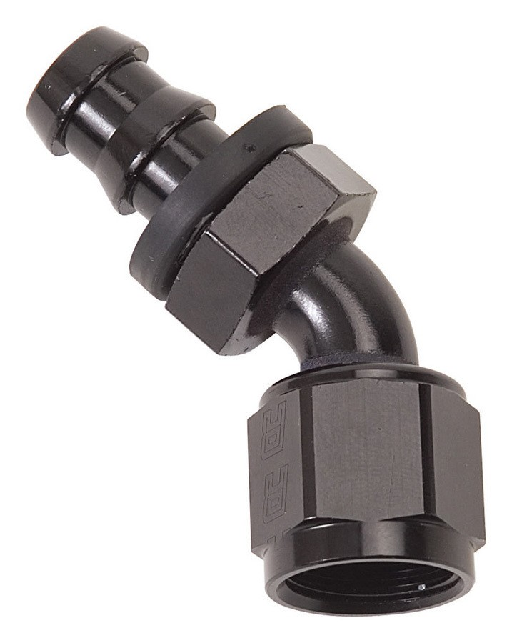 Russell 624103 Fitting, Hose End, Twist-Lok, 45 Degree, 10 AN Hose Barb to 10 AN Female, Aluminum, Black Anodize, Each