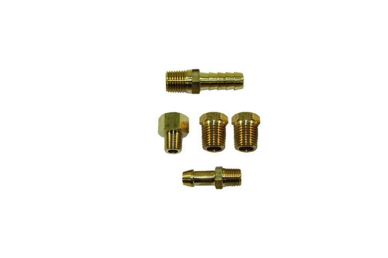 Specialty Products 3160 Fuel Pump Fitting Kit, Two 1/4 in NPT Male to 1/8 NPT Female, One 1/4 in NPT Male to 3/8 in Hose Barb, 1/8 in NPT Male to 1/4 in Hose Barb, 1/8 in NPT Male to 1/2-20 in IF Female, Brass, Natural, Universal, Kit