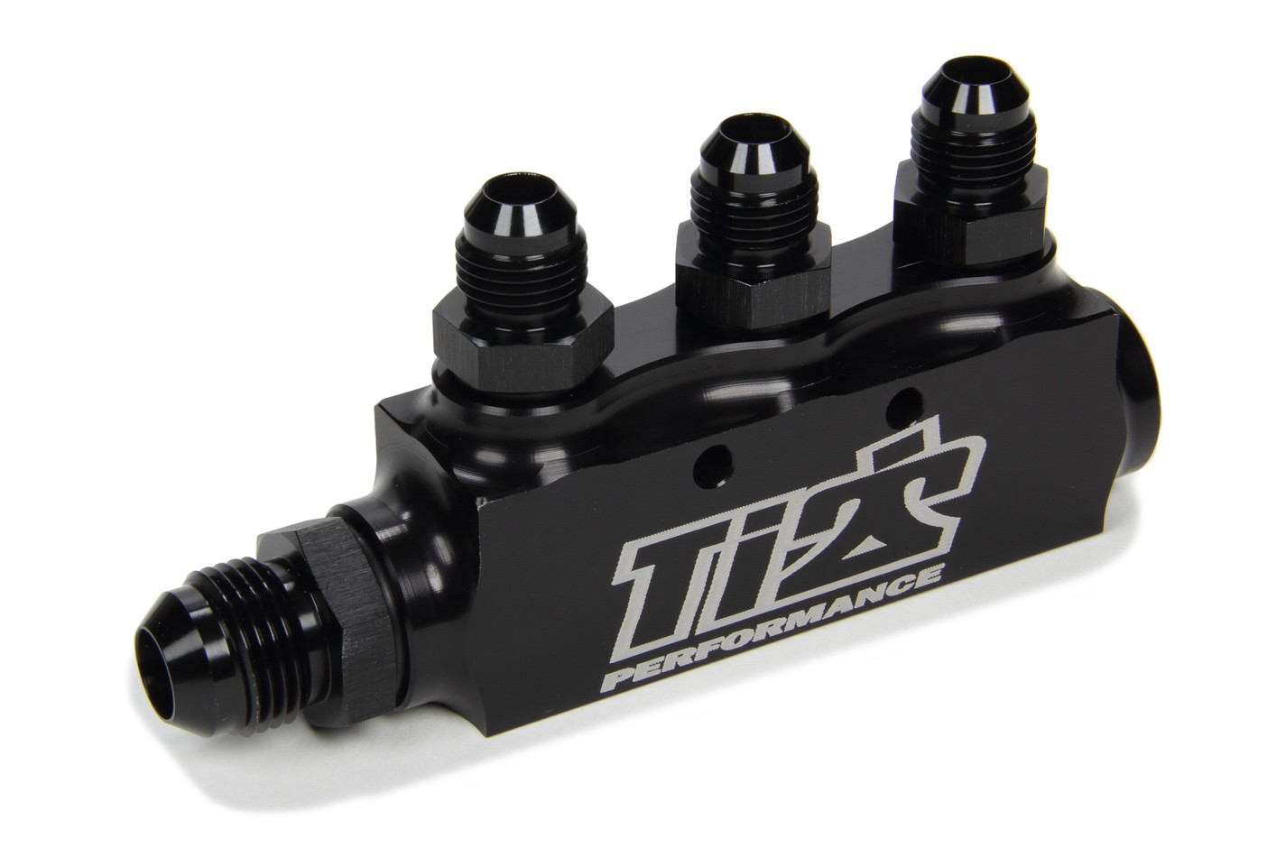 Ti22 Performance 5500 Fuel Block, Three 6 AN Female Ports, One 8 AN Female Port, Male Adapter Fittings Included, One 8 AN Male Fitting, Aluminum, Black Anodize, Each