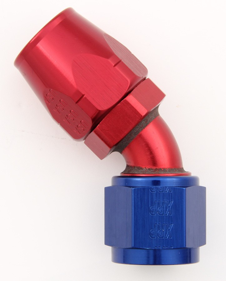 XRP 104508 Fitting, Hose End, 45 Degree, 8 AN Hose to 8 AN Female, Aluminum, Blue / Red Anodize, Each
