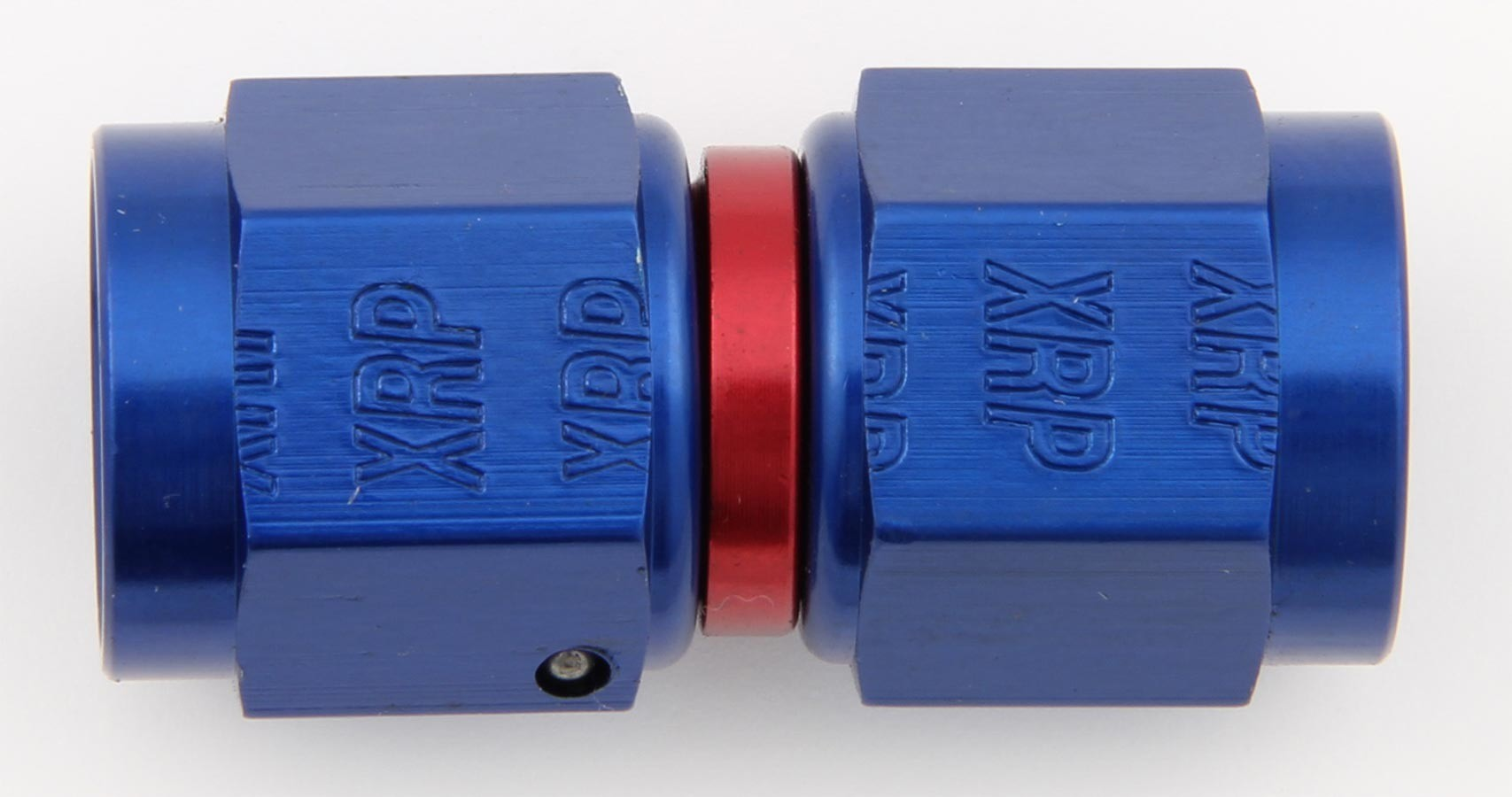 XRP 900106 Fitting, Adapter, Straight, 6 AN Female Swivel to 6 AN Female Swivel, Aluminum, Blue / Red Anodized, Each