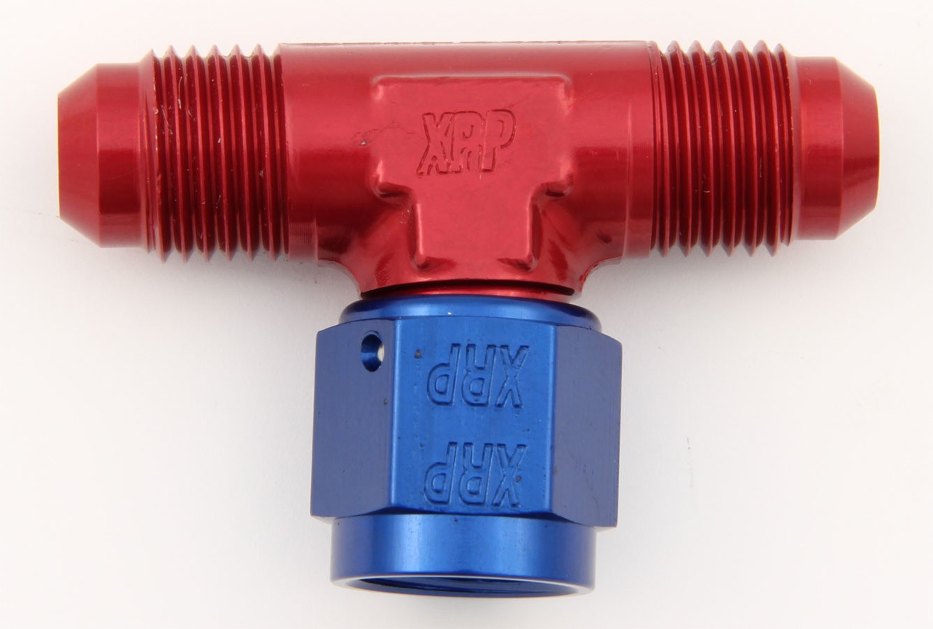XRP 900204 Fitting, Adapter Tee, 4 AN Male x 4 AN Male, 4 AN Female Swivel, Aluminum, Blue / Red Anodize, Each