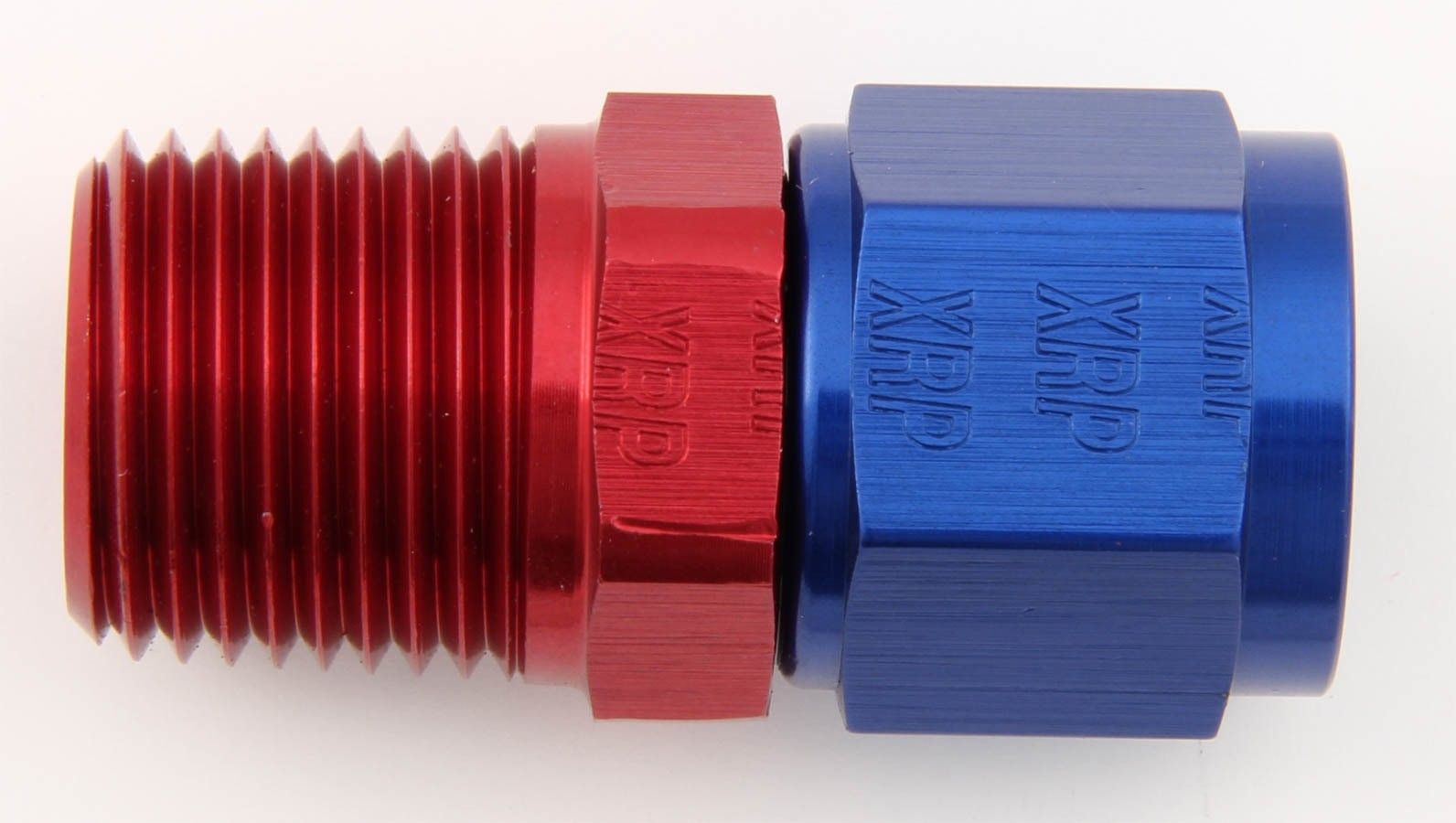 XRP 900688 Fitting, Adapter, Straight, 8 AN Female Swivel to 1/2 in NPT Male, Aluminum, Blue / Red Anodized, Each