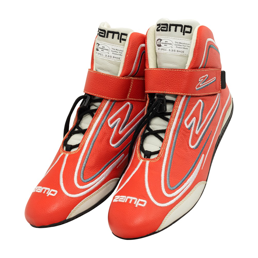 Zamp RS003C0213 Shoe, ZR-50, Driving, Mid-Top, SFI 3.3/5, Leather Outer, Rubber Sole, Velcro Strap, Fire Retardant NMX Inner, Red, Size 13, Pair