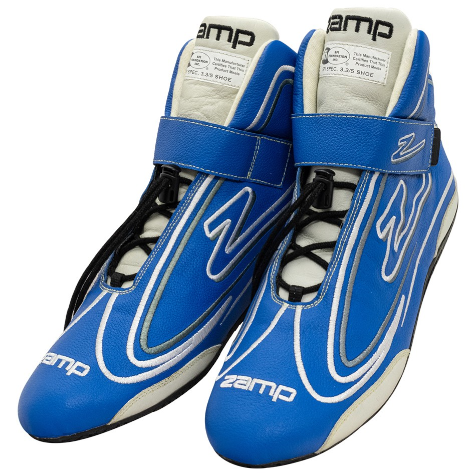 Zamp RS003C0411 Shoe, ZR-50, Driving, Mid-Top, SFI 3.3/5, Leather Outer, Rubber Sole, Velcro Strap, Fire Retardant NMX Inner, Blue, Size 11, Pair