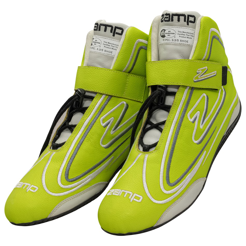 Zamp RS003C0910 Shoe, ZR-50, Driving, Mid-Top, SFI 3.3/5, Leather Outer, Rubber Sole, Velcro Strap, Fire Retardant NMX Inner, Neon Green, Size 10, Pair